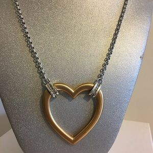 Brighton large two tone heart necklace reversible